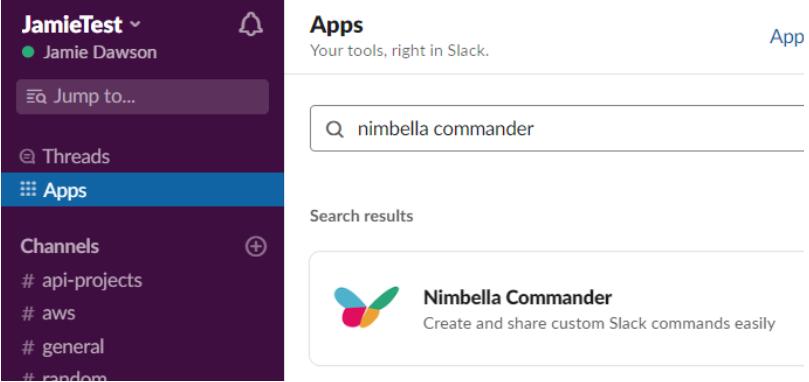 Nimbella Commander in the Slack apps tab