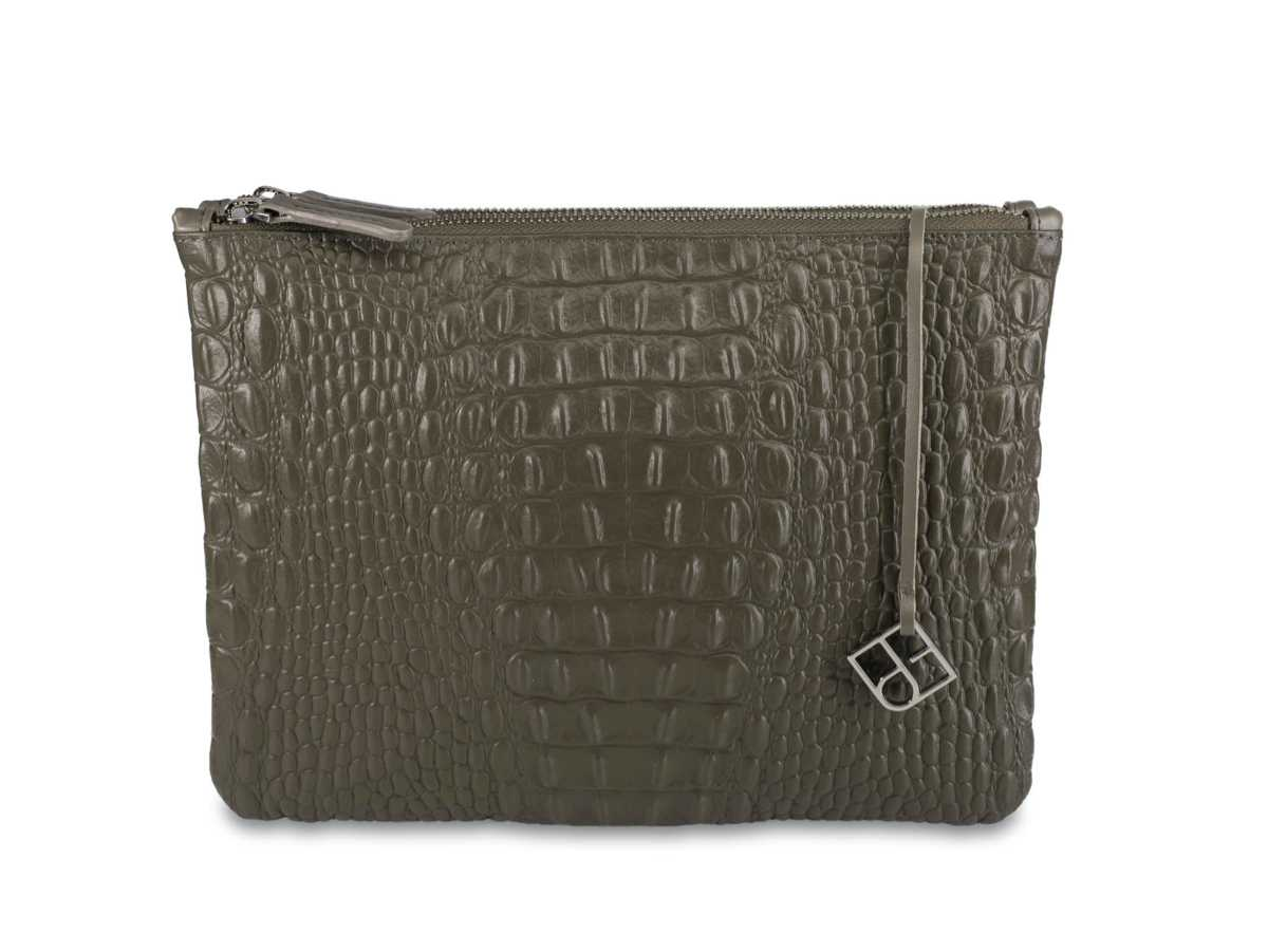 Peacock Pouch Double – croc mud