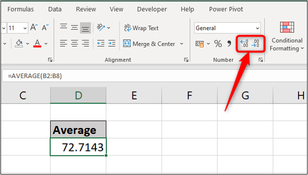 A simple spreadsheet showing the average of exam scores shown to four decimal places. The two decimal buttons in the Excel toolbar ribbon are highlighted with a red arrow.