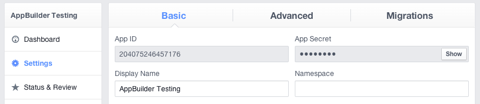 The dashboard of my Facebook application
