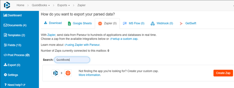 Search for Quickbooks under Zapier