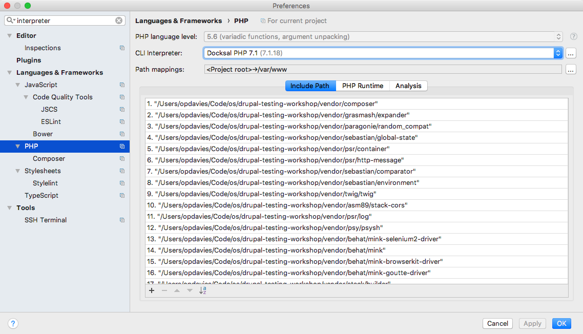 Selecting the new CLI interpreter in the PHP preferences