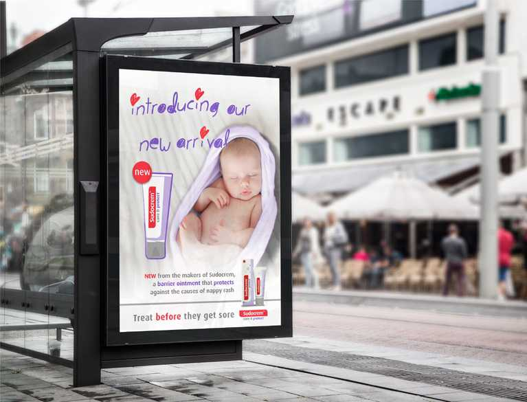 bus stop advertisement for sudocrem