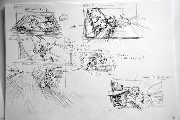 The Hot Potato, rough storyboard - gun scene
