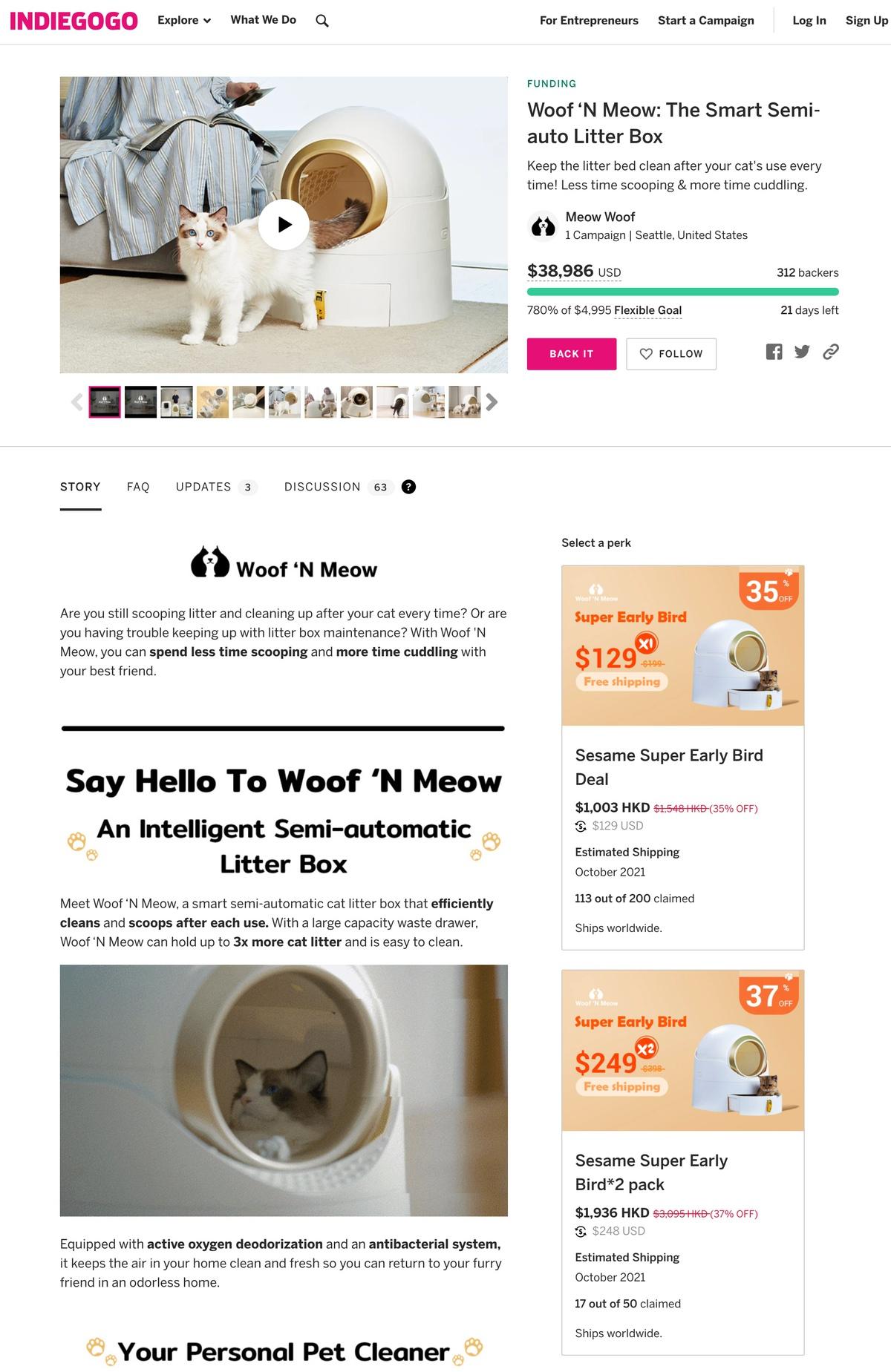 Woof n Meow Indiegogo