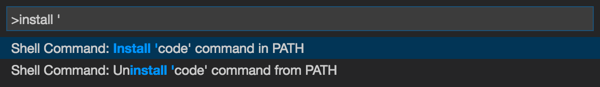 From the command palette, choose Shell command: Install 'code' command in PATH