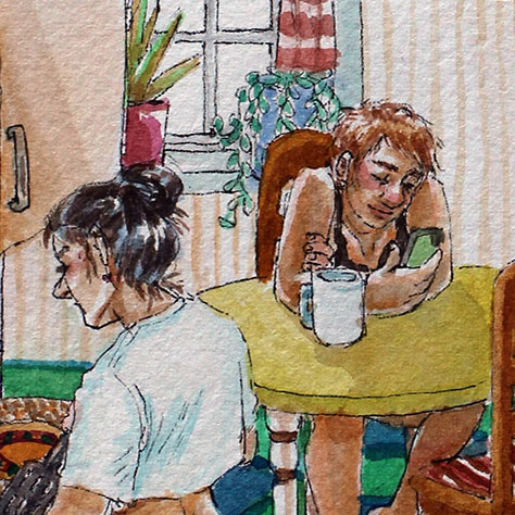 close up of watercolor painting of two girls in a kitchen.