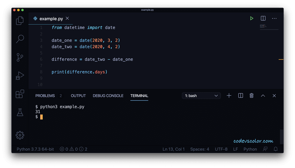 Python difference date