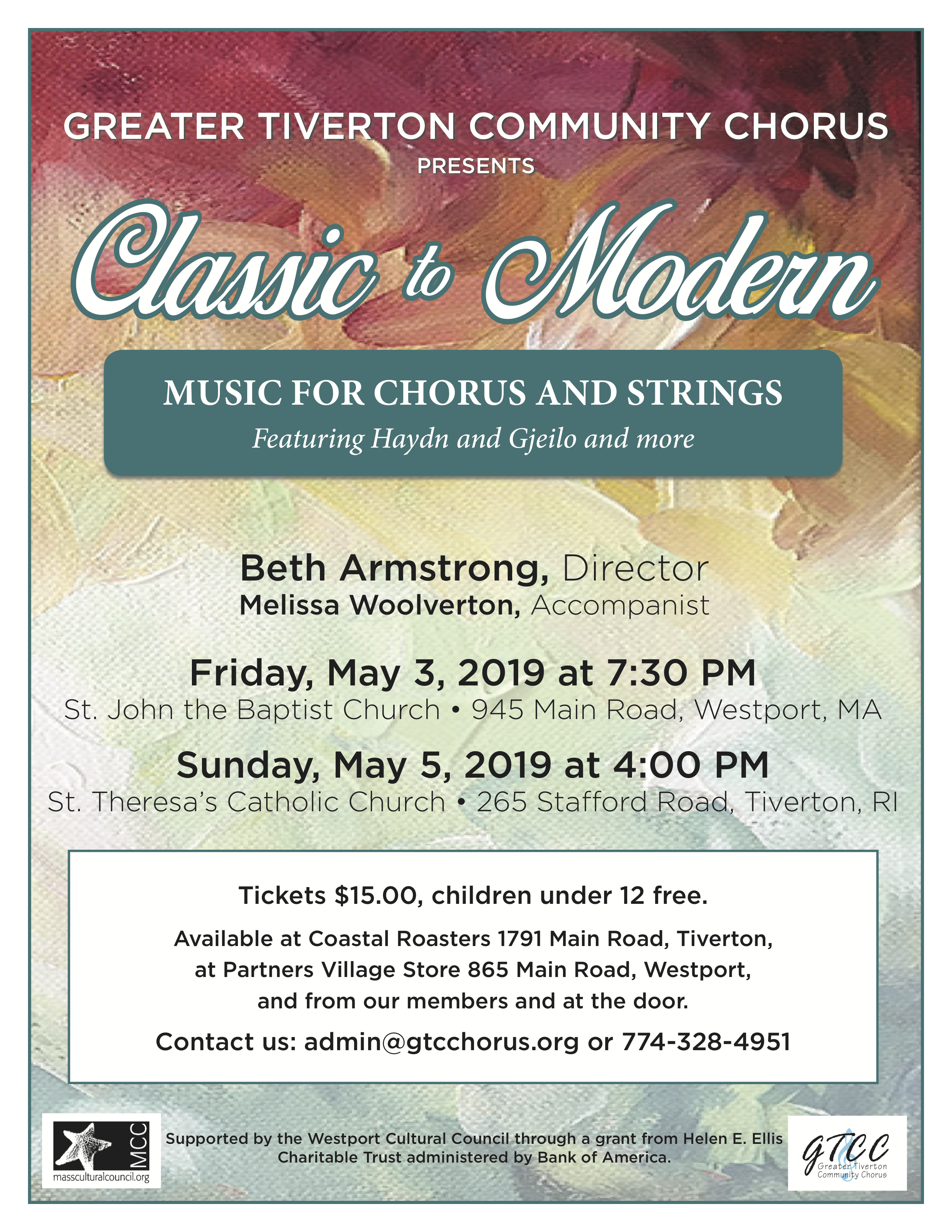 Poster for the Greater Tiverton Community Chorus Spring 2019 Concert: Classic to Modern