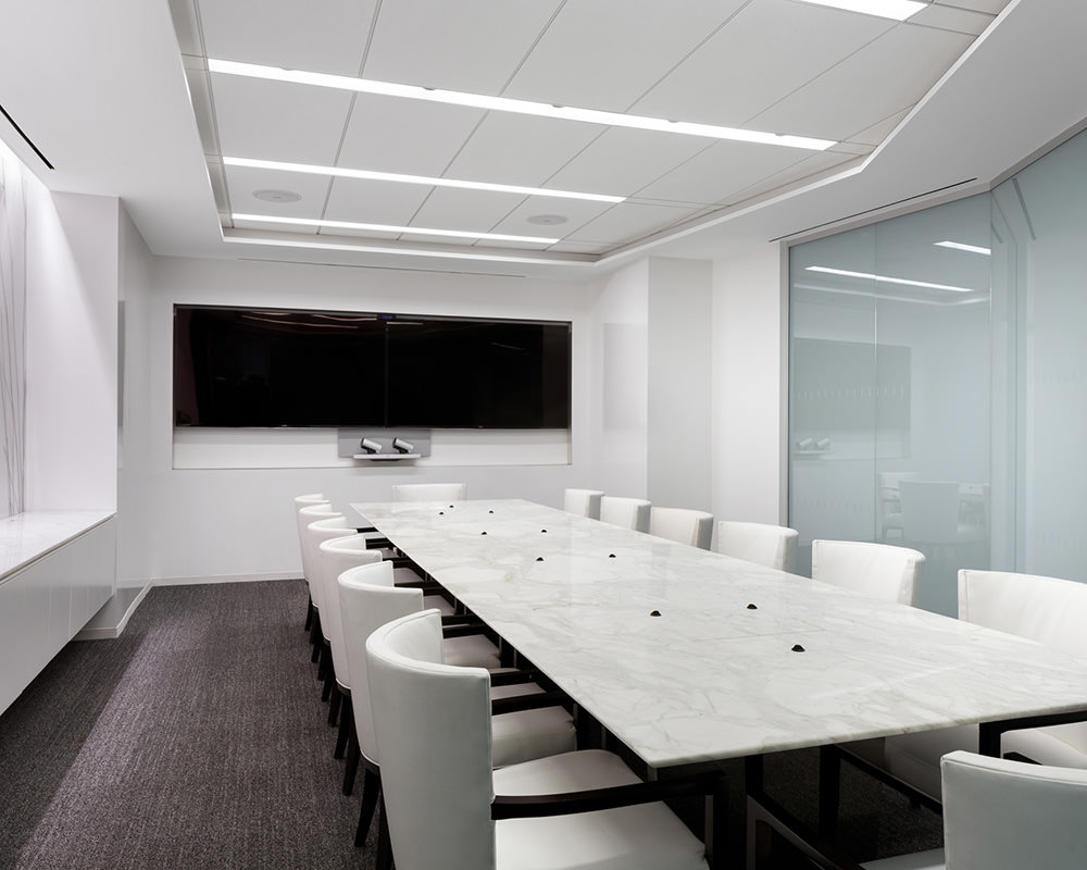Media Room with Frosted Glass Walls and Strip Lights