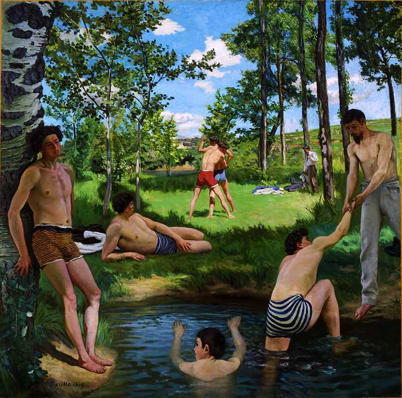 Bazille's 'Scène d'été, or Summer Scene', 1869. The human figures were drawn in his studio and then he painted the background en plein air