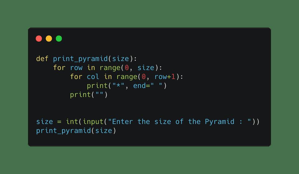 Python half pyramid