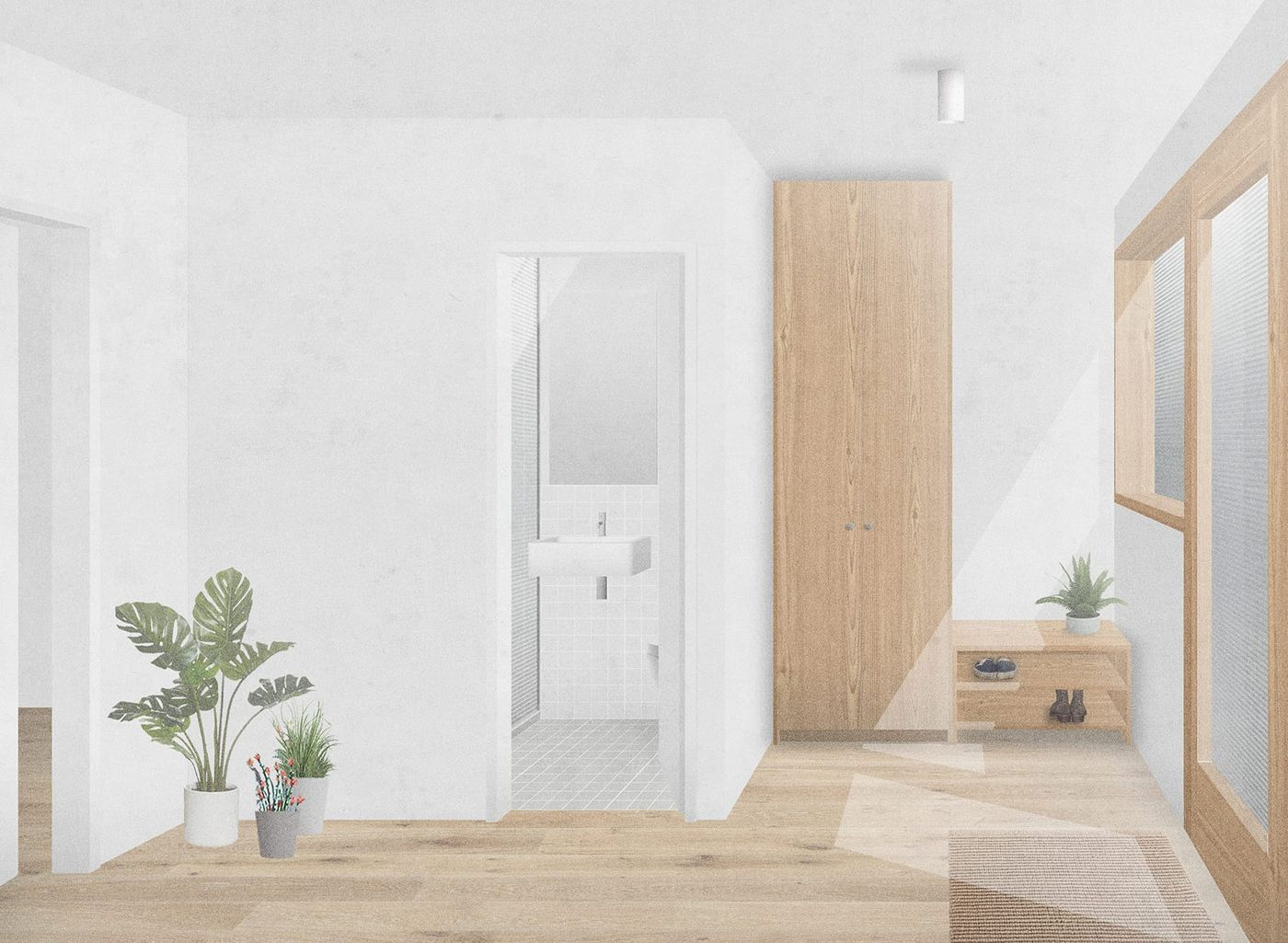 Interior view of the bright entrance reception with timber cloak store and white tiled bathroom.