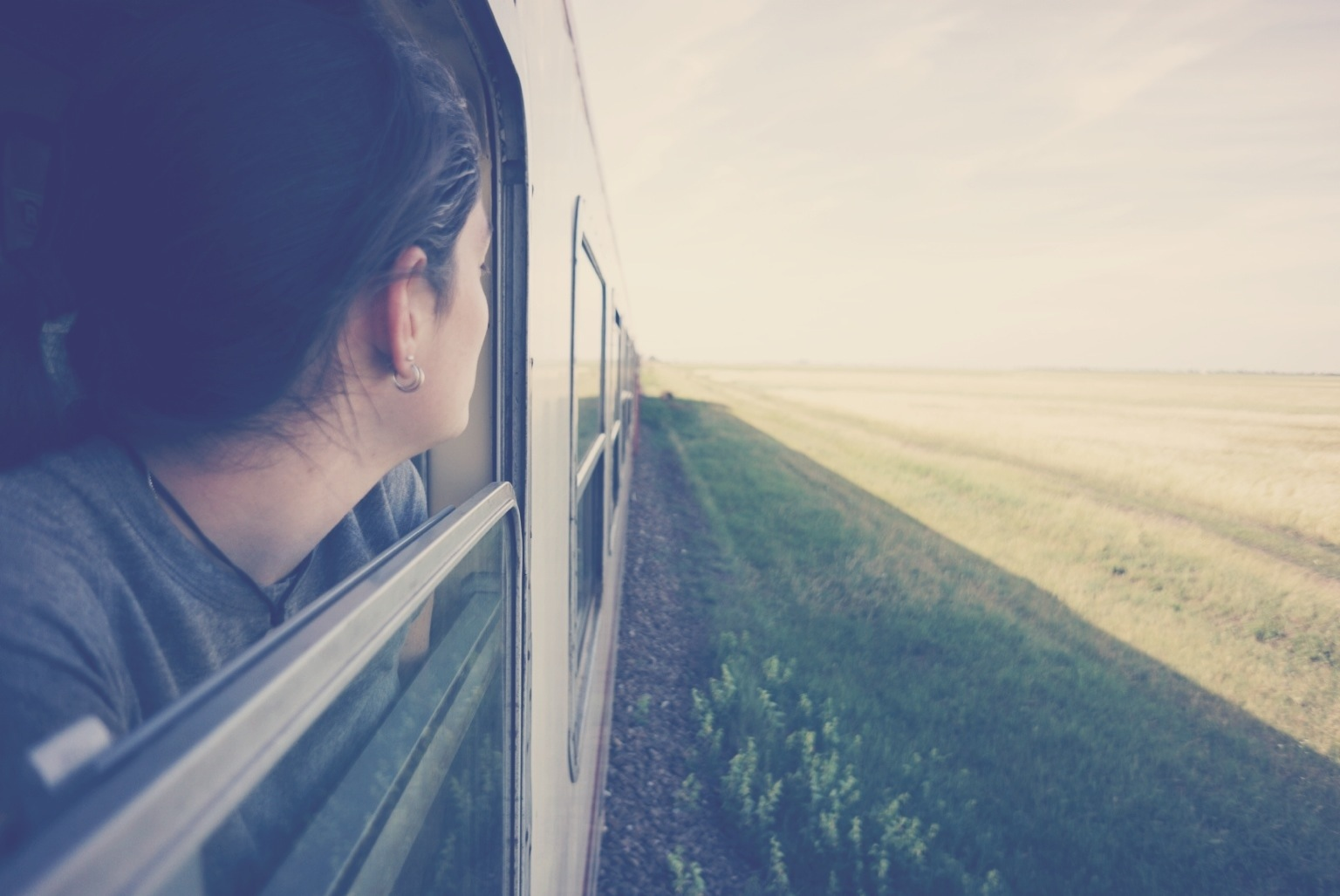 Sarah peering out at Romanian countryside