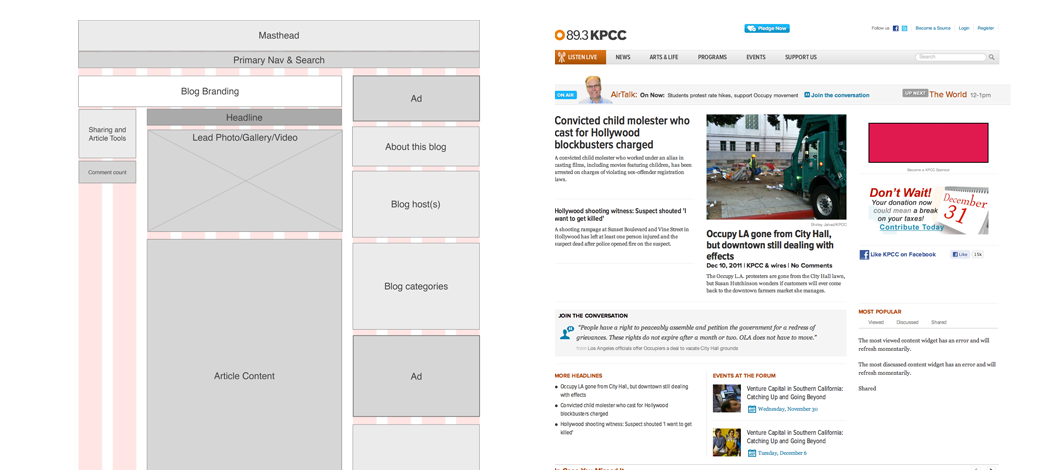 Wireframe showing section breakdown for SCPR homepage (masthead, navigation, headline, body copy, advertising, footer) and screenshot of homepage design