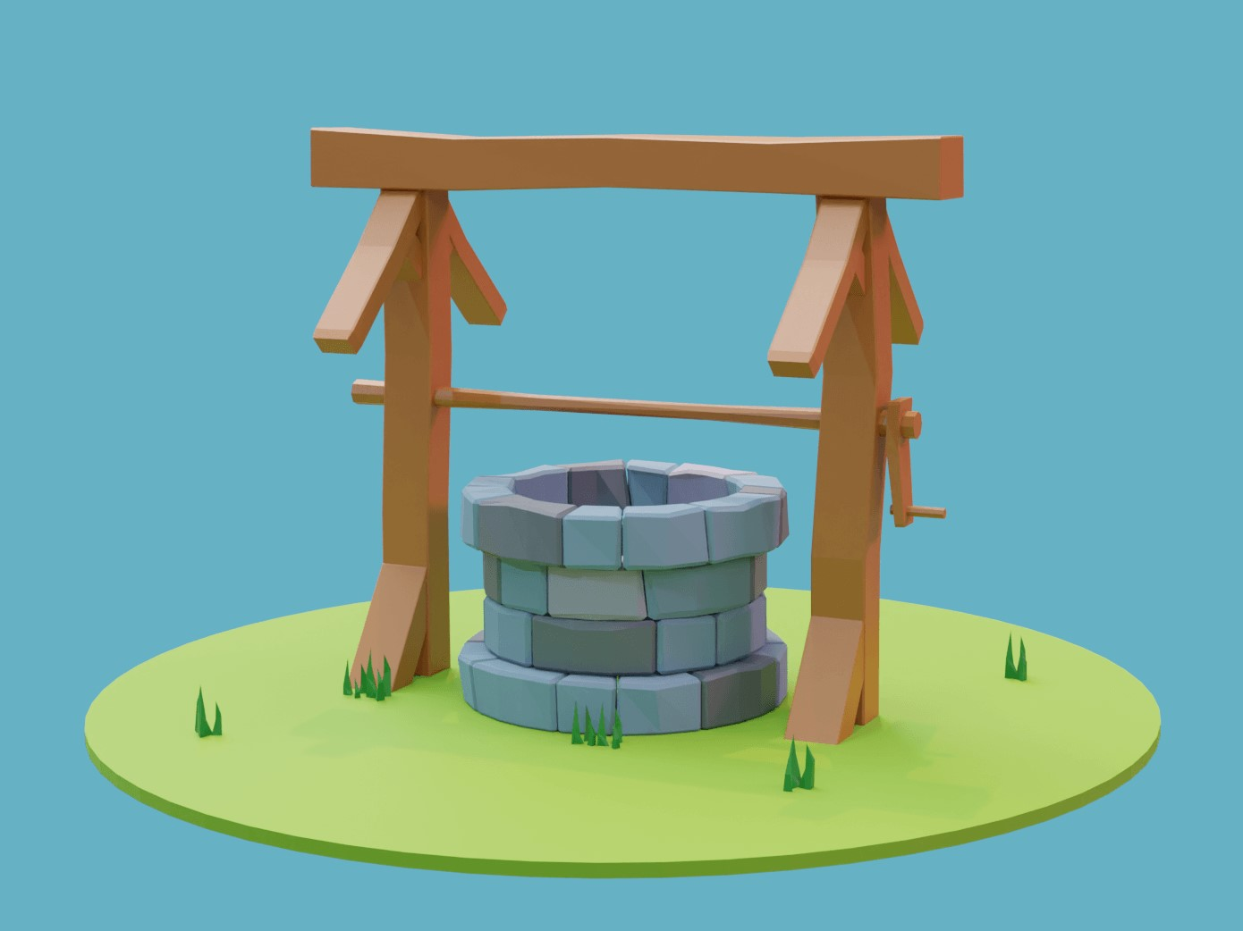 A well with a wooden frame