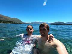Swimming in the lake to cool down