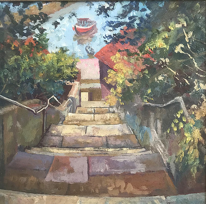 painting of the steps leading down to Folkestone Harbour