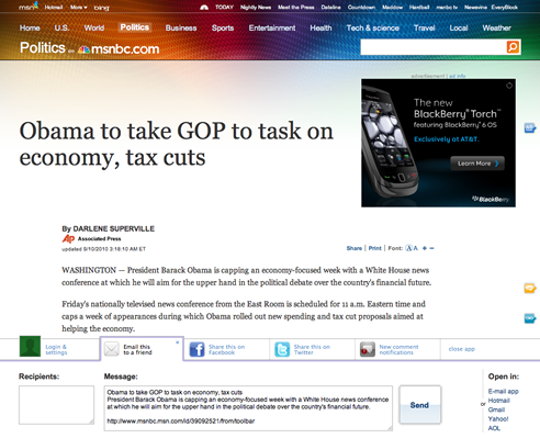 An article page on the new MSNBC website
