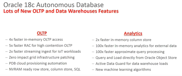 Oracle 18c Autonomous Database - OLTP and Analytics Feature Updates