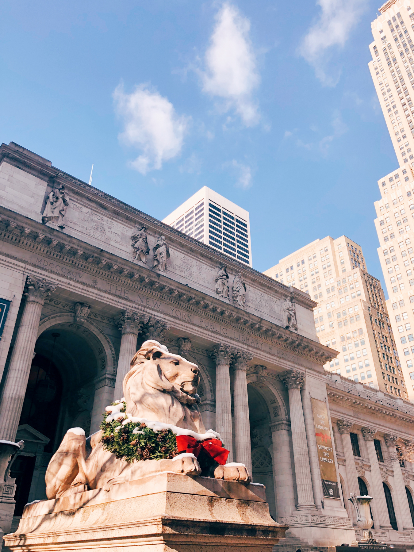 The famous lion statue outside of New York Public Library