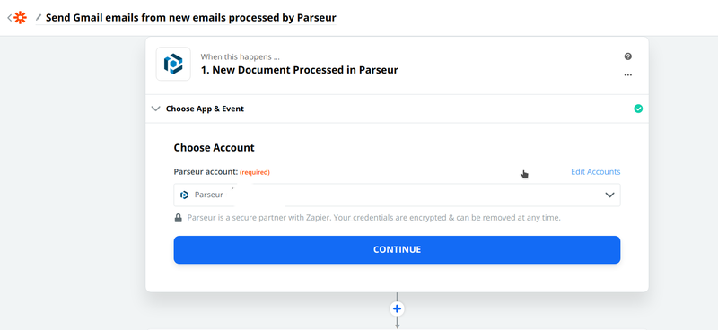 Connect your Parseur account to Zapier