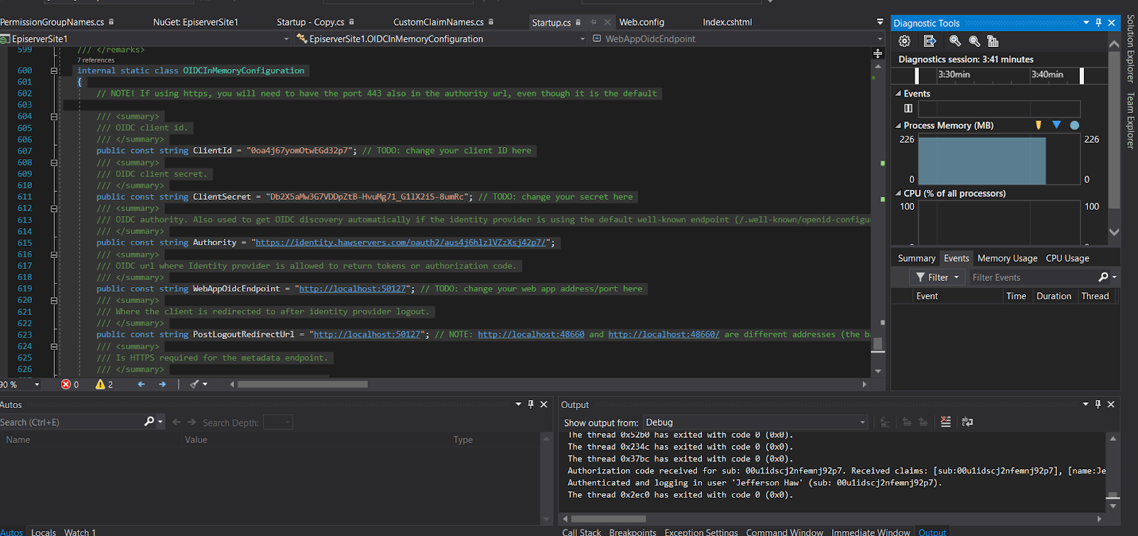 Visual Studio Episerver log output