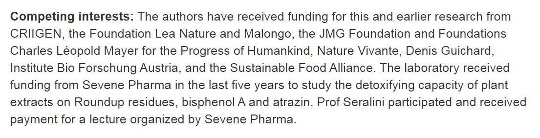 """3. kép: Érdekellentétek: A szerzők a mostani és a korábbi kutatásaikra támogatást kaptak az itt felsorolt """"GMO-kat"""" ellenző, organikus lobbi szervezetektől (PLOS ONE 2015)"""