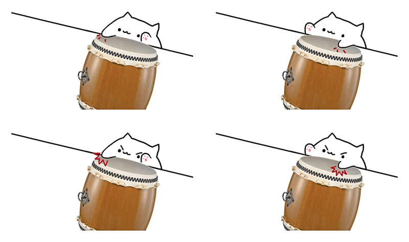 An image of four of the five frames of animation Taiko Cat uses