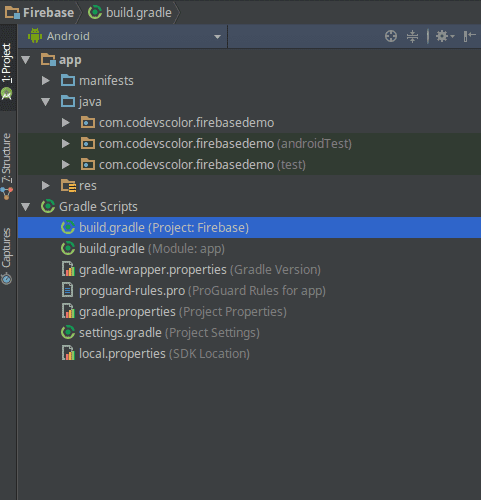 Google Firebase using android studio