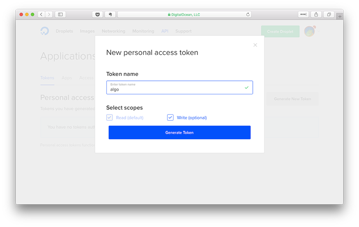 name your personal access token on digital ocean