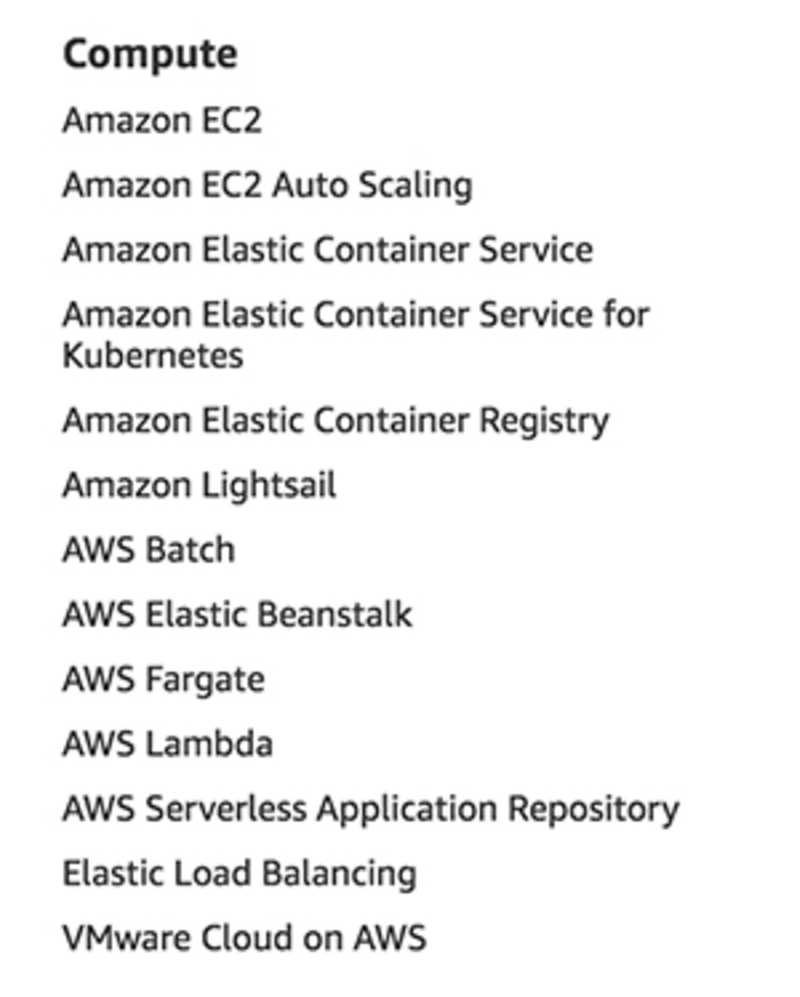 A list of compute services - as listed on aws.amazon.com