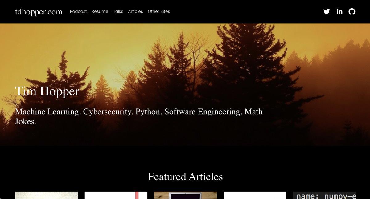 The home page of Tim Hopper's data analytics portfolio website
