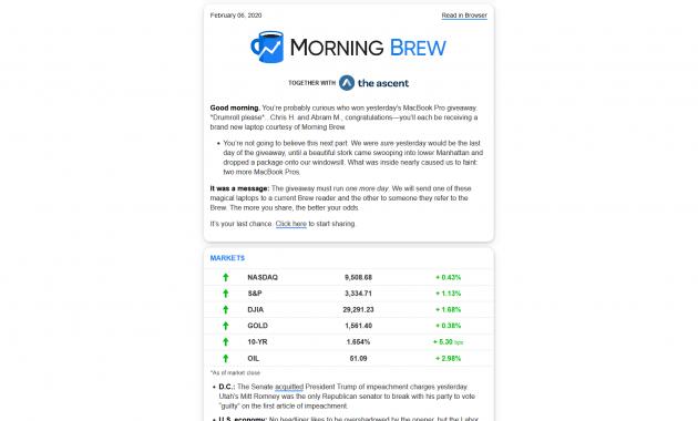 Tampilan email newsletter Morning Brew