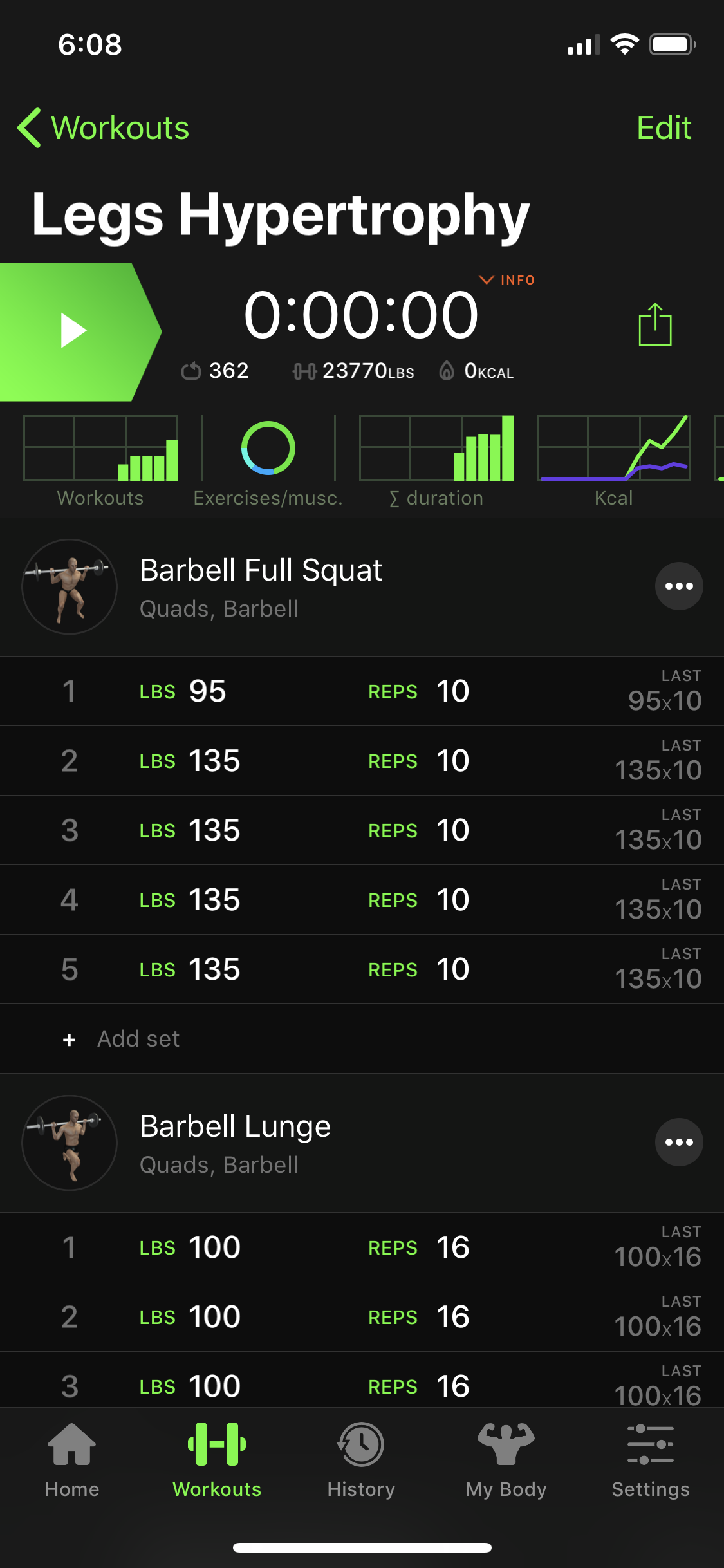ONE: List of Workouts. TWO: Detailed Workout View. THREE: Detailed Exercise View.