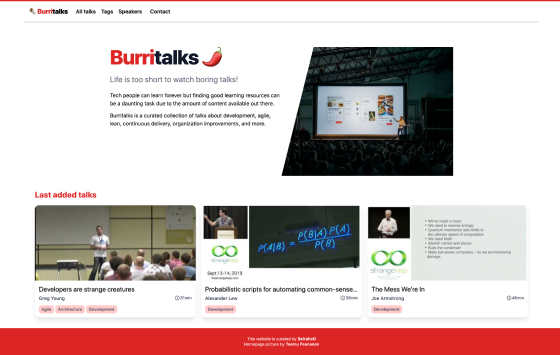 Burritalks.io homepage