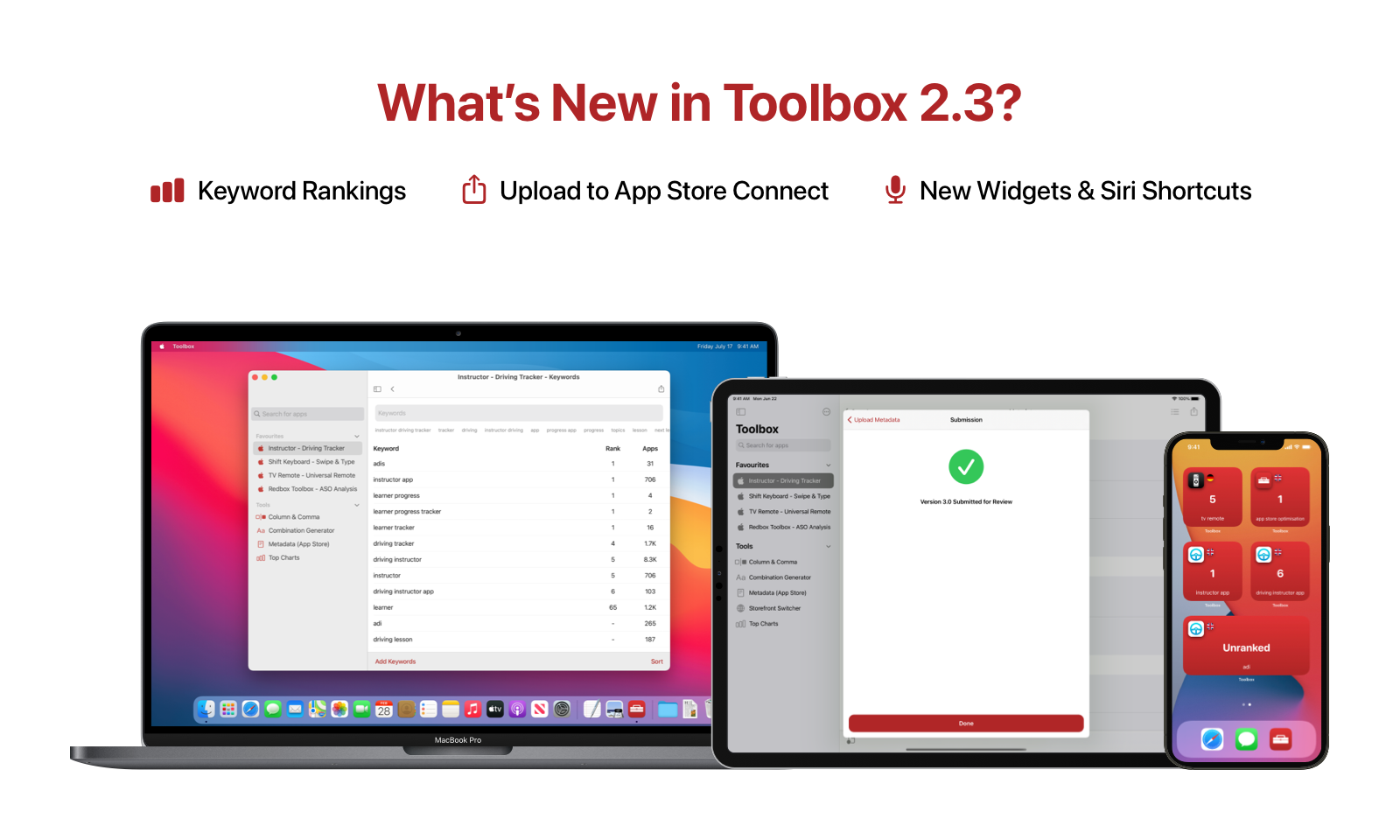 Image of Macbook, iPad and iPhone showcasing the Toolbox App