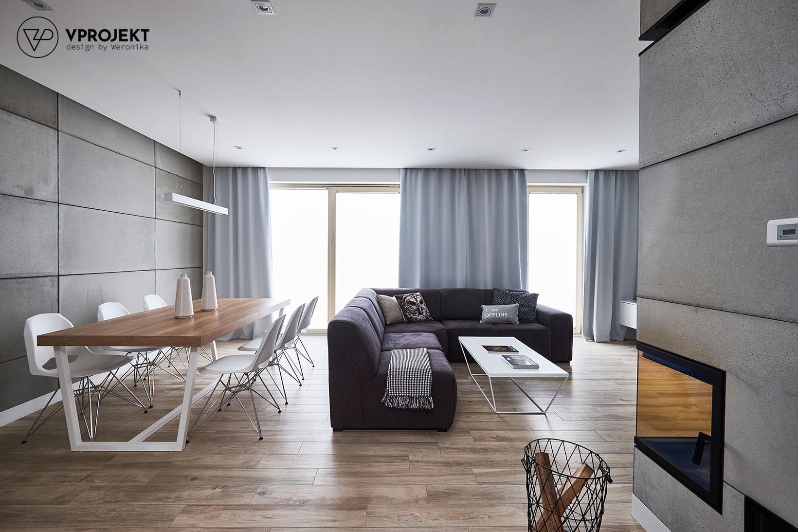 Pokój dzienny i przestrzeń jadalniana, dom w Ostródzie