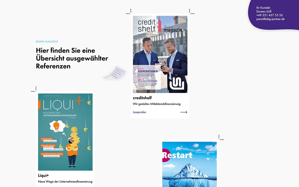 Website mit Referenzen Magazinen von ABG
