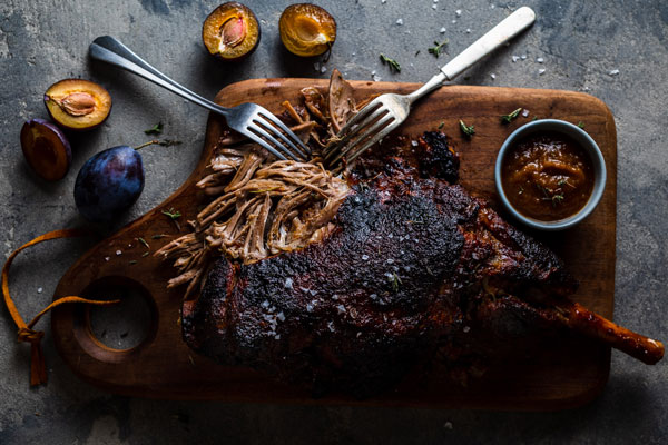 Slow Roasted Lamb With Plum Sriracha