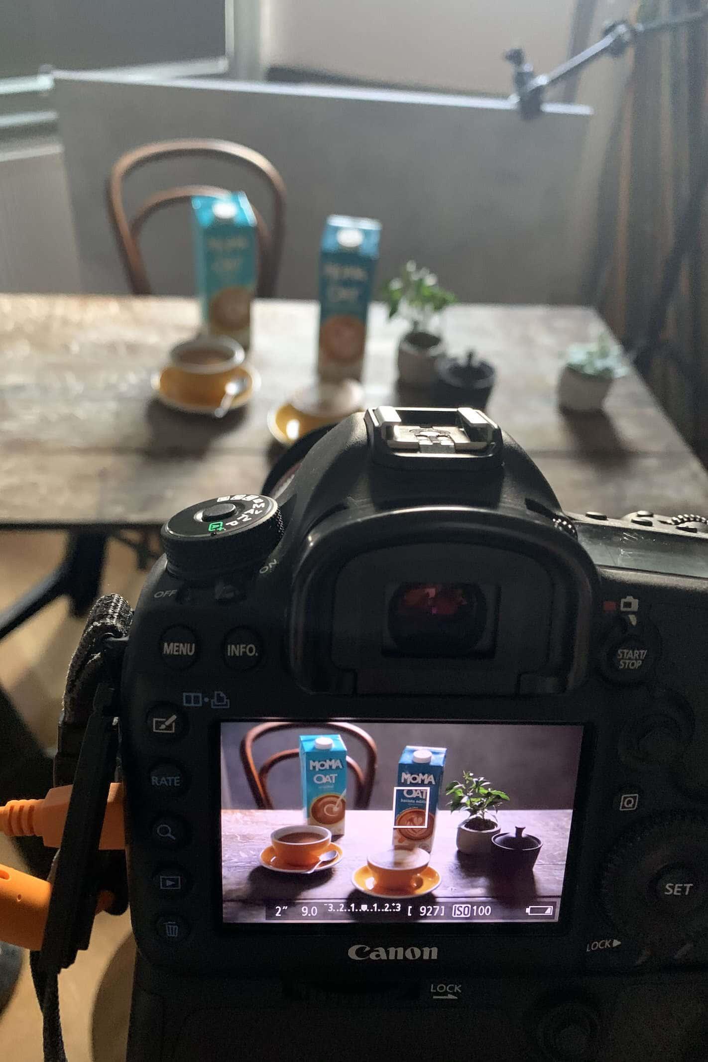 image on back of camera in studio