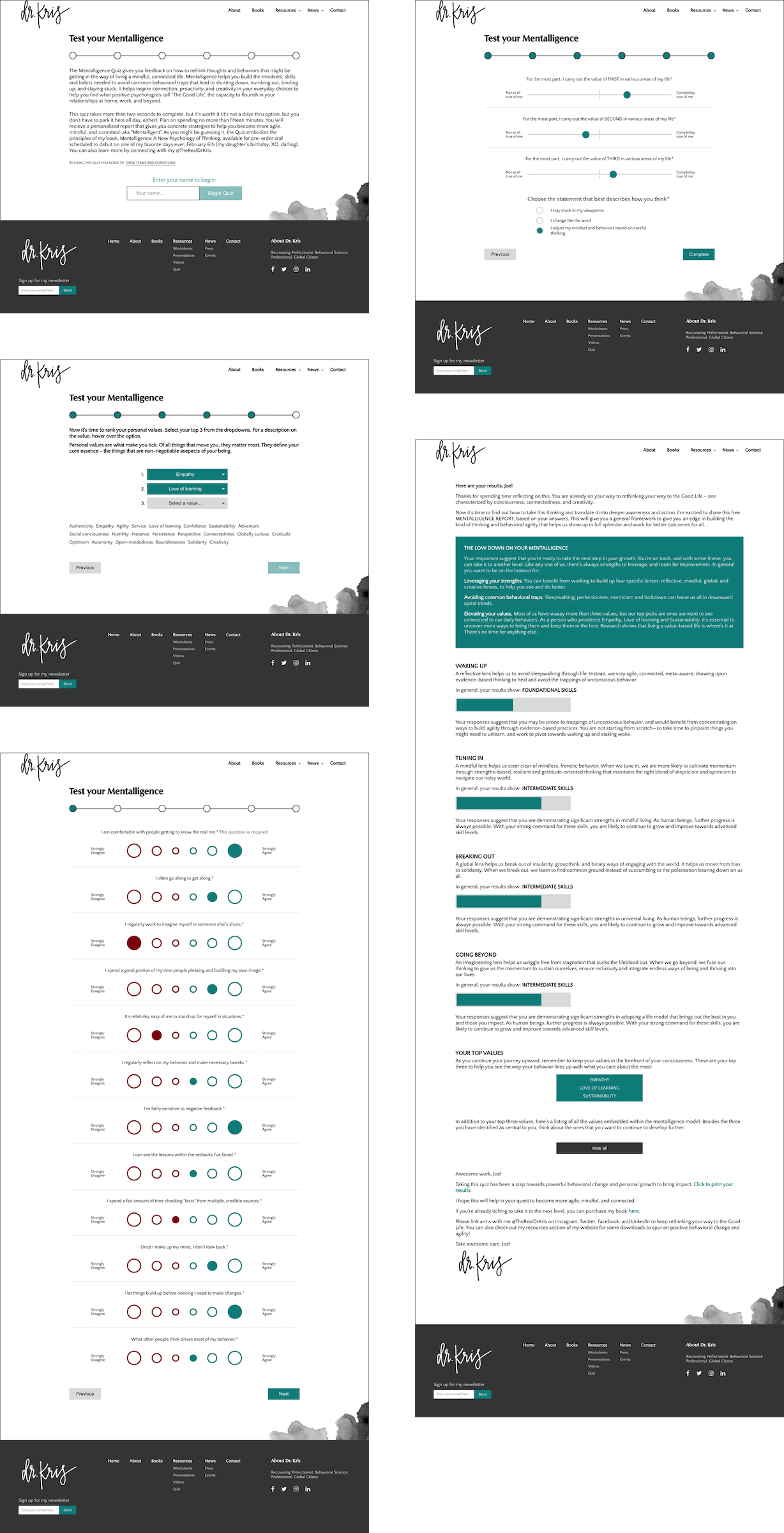 Five screens of the quiz I developed for the site. Different steps include ranking options and agreeing or disagreeing with statements.