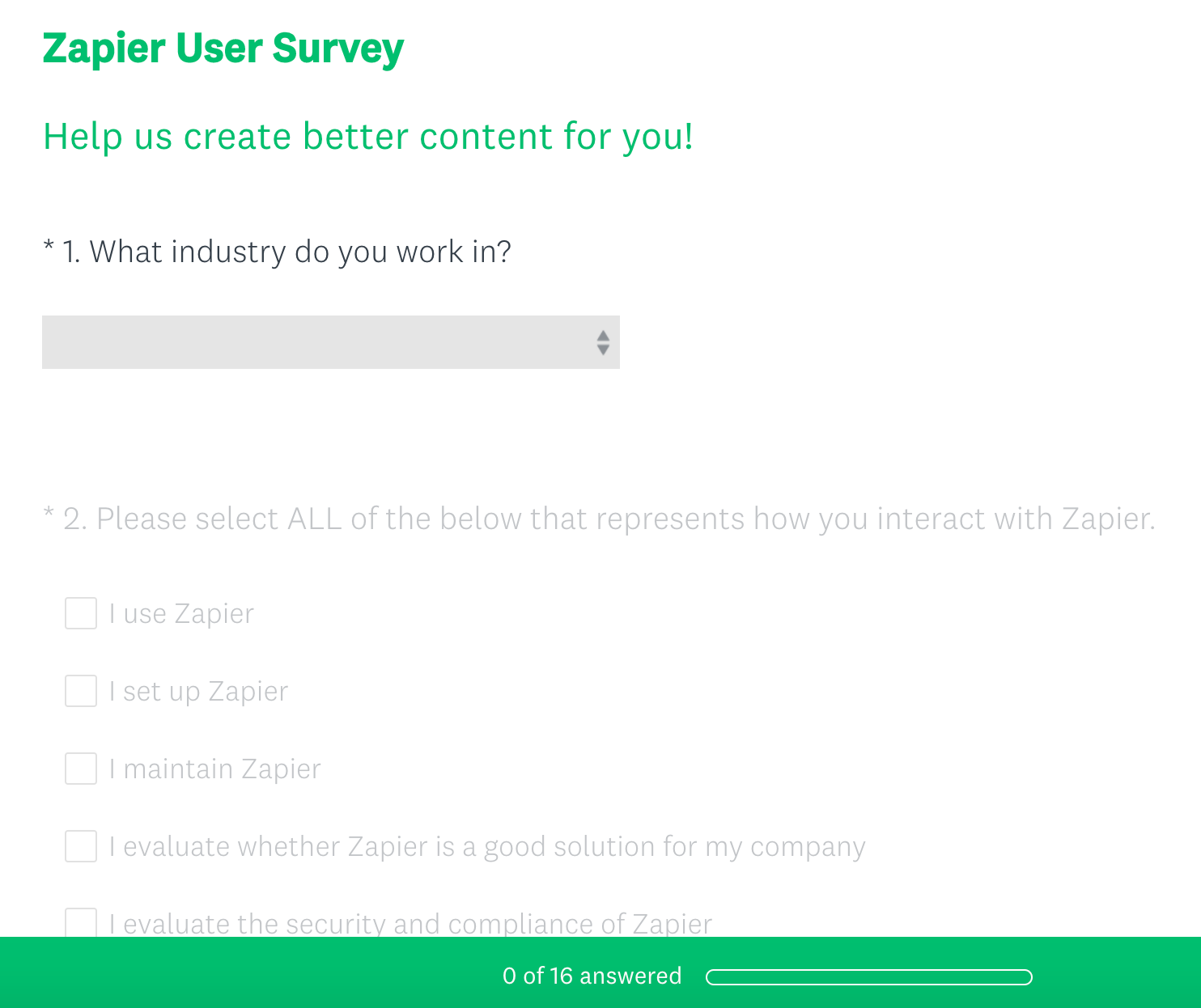 Product feedback example from Zapier