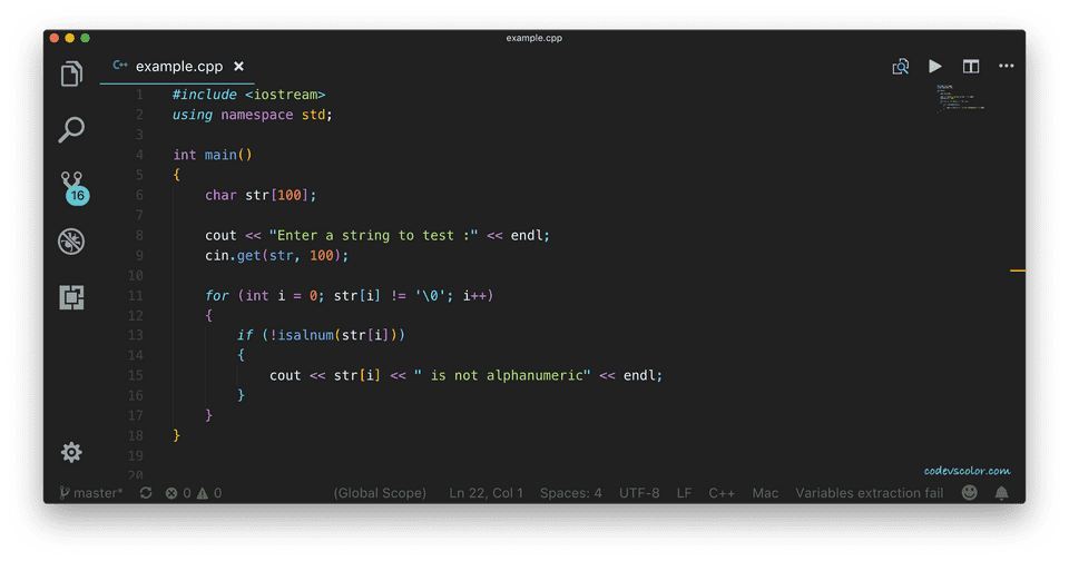 C++ check alphanumeric characters
