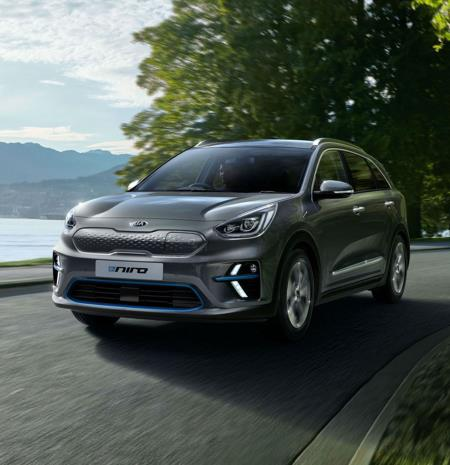Kia marketing image of the Kia e-Niro EV on the roads with a tree and the sea in the background.
