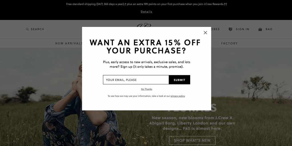 Extra 15% off popup