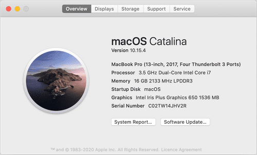 Screenshot of my laptop specs