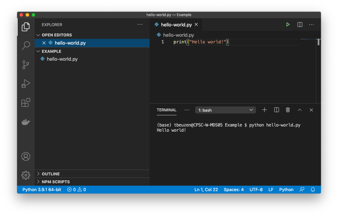 Executing a simple Python file called hello-world.py from the integrated terminal in Visual Studio Code.
