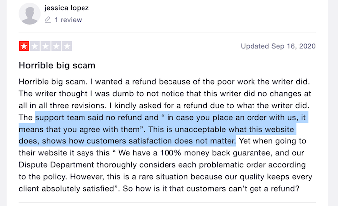 negative review about writemyessays.net on trustpilot
