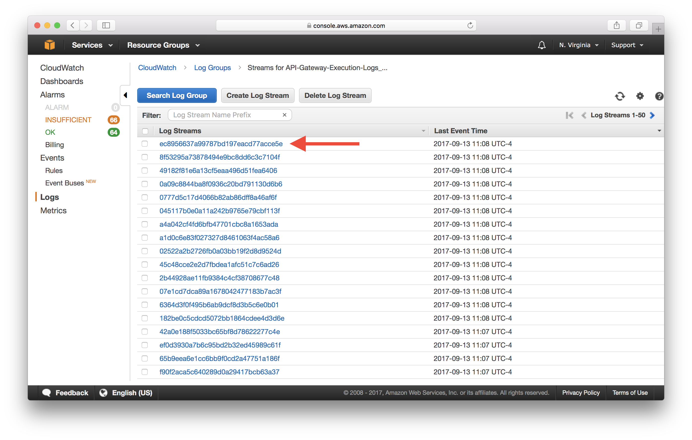 Select CloudWatch API Gateway Log Stream Screenshot